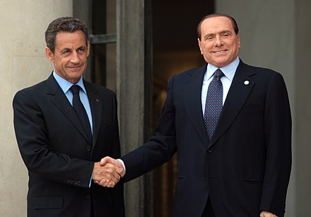 Berlusconi with former French President Nicolas Sarkozy in 2011 International Conference in Support of the New Libya 26.jpg