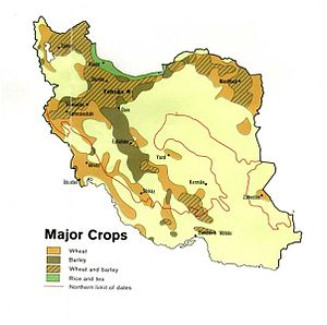 Agriculture in Iran - Map of Iran's major crops, circa 1978.
