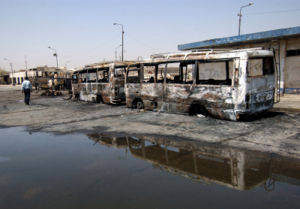 17 August 2005 Baghdad bombings - Bombed buses at the Nahda bus station