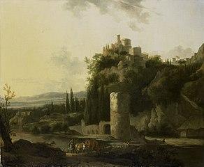 Paysage italien avec une tour ronde