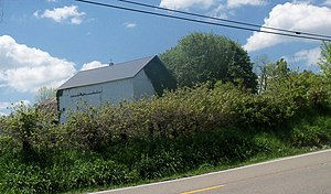 Knox Township, Holmes County, Ohio - This barn on Route 39 is being covered by ivy