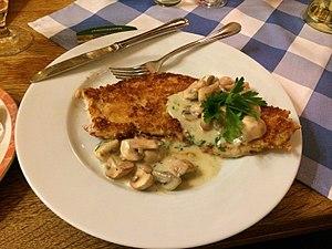 Schnitzel - Jägerschnitzel as served at a German restaurant.