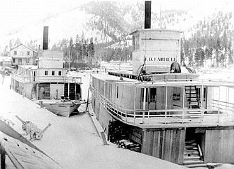 North Star (sternwheeler 1897) - North Star (on left) laid up at Jennings, Montana with ''J.D. Farrell