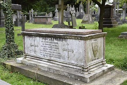 The grave of John James Ruskin in the churchyard of St John the Evangelist, Shirley, Croydon JJ Ruskin grave.jpg