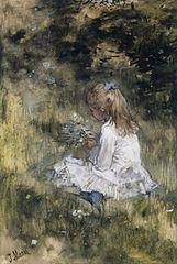Une Fille avec des fleurs sur l'herbe