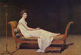 Portrait de Mme Récamier par David (1800). Célèbre par sa beauté, Mme Récamier (1777-1849) attira dans son salon les hommes les plus marquants de son époque. Chateaubriand fut un de ses principaux adorateurs. (Musée du Louvre).
