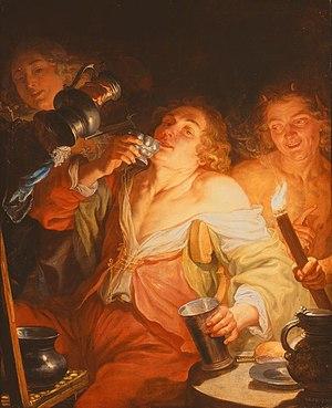 Jacques de l'Ange - A Man drinking, 'Gluttony'
