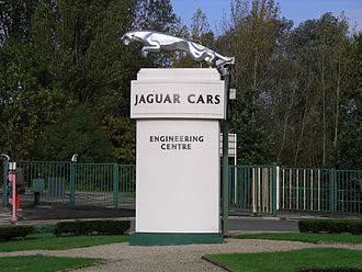 The leaping jaguar mascot outside the car company's head office south of Coventry Jaguar sign 19o06.jpg