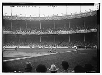 1912 World Series - Stahl advancing to third, Polo Grounds, specific game unknown