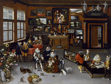Albert and Isabella visiting a private art gallery. Jan Brueghel the Elder - The Archdukes Albert and Isabella Visiting a Collector's Cabinet - Walters 372010.jpg