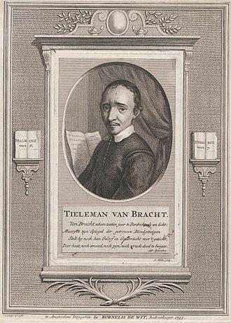 Thieleman J. van Braght - Portrait by Jan Caspar Philips after a design by Simon Fokke of Thieleman J. van Braght, from Kornelis de Wit's Verzaameling van Afbeeldingen van Doopsgezinde Leeraaren.