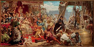 Sigismund Bell - King Sigismund I, with his family and court, observes the hanging of the Sigismund Bell in 1521. Jan Matejko, Zawieszenie dzwonu Zygmunta (1874).