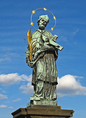 John of Nepomuk - The prototypical statue of John of Nepomuk at Charles Bridge in Prague, at the site where the saint was thrown into Vltava. Made by Jan Brokoff upon a model by Matthias Rauchmiller in  1683, on the supposed 300th anniversary of the saint's death, which was until the mid-18th century presumed to had happened in 1383. It was the basis for a number of statues of the saint all across the Europe.