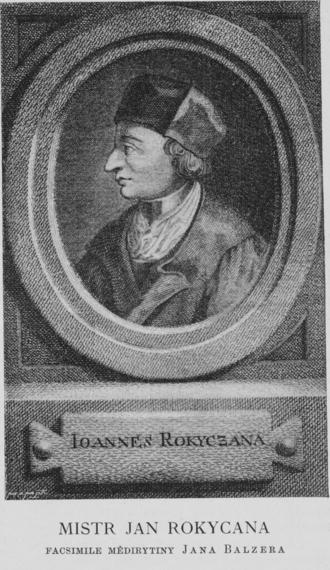 Jan Rokycana - John of Rokycany, engraving by Johann Balzer