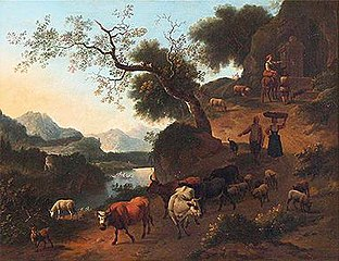 Mountain Landscape with Cattle and Herders