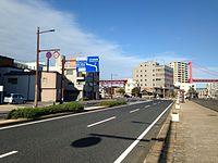 Japan National Route 495 near Wakamatsu Wharf of Kitakyushu Port.jpg