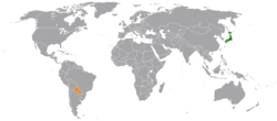 Map indicating locations of Japan and Paraguay