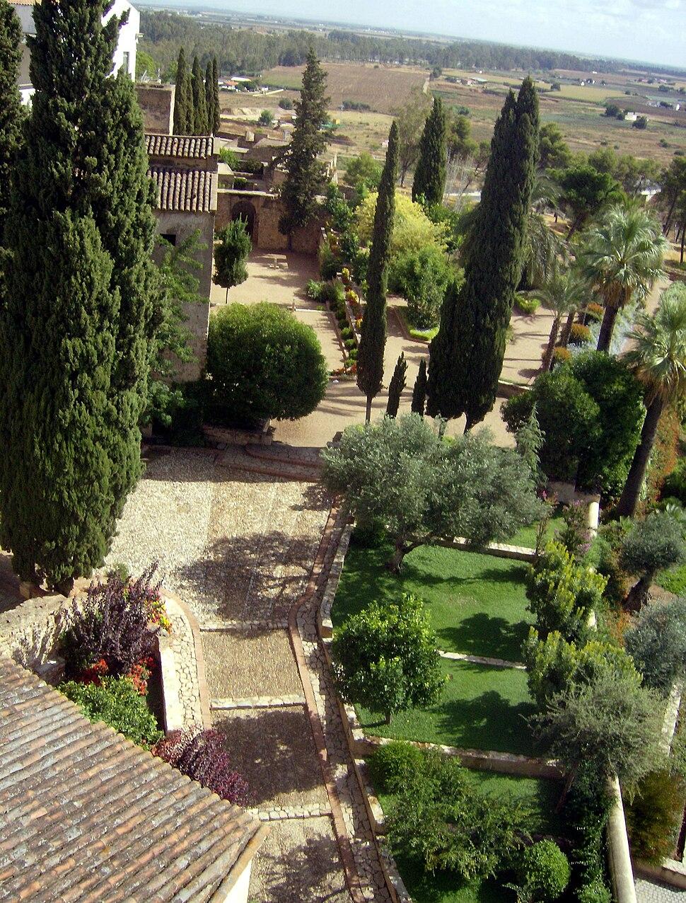 Jardines de La Galera de Badajoz desde la Torre de Espantaperros