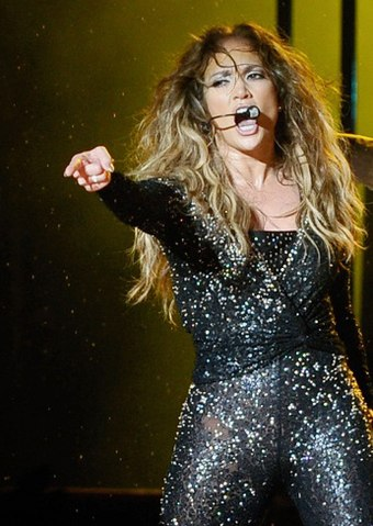 Lopez performing during her Dance Again World Tour, December 2012. Jennifer Lopez (8414251754) (cropped).jpg