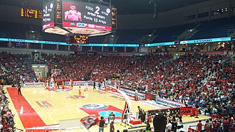 Israeli Basketball State Cup 2014–15 - Image: Jerusalem Arena in a Playoff Match 2