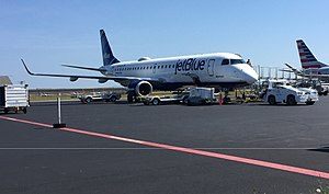Nantucket Memorial Airport - A JetBlue Embraer ERJ 190-100 parked on the tarmac at Nantucket Regional Airport in 2017