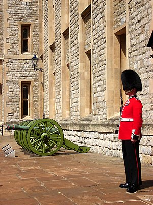 Coldstream Guards sentry outside the Jewel House in the Tower of London