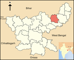 Location of Deoghar district in Jharkhand