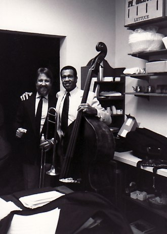 John Clayton (bassist) - Clayton with trombonist Jiggs Wigham in 1989