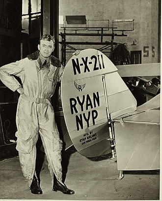 The Spirit of St. Louis (film) - Jimmy Stewart with the aircraft replica used in the film