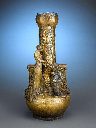 Goldscheider ceramics - Joan of Arc Cane Stand by Goldscheider, circa 1897/1914.
