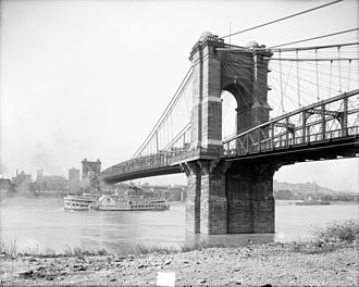 John A. Roebling Suspension Bridge - The Roebling Suspension Bridge in 1907