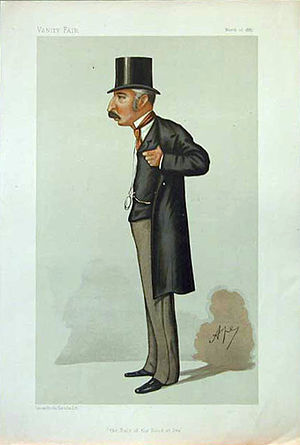 """John Colomb - """"The Rule of the Road at Sea"""". Caricature by Ape published in Vanity Fair in 1887."""
