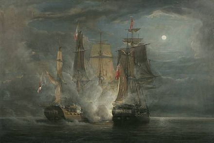 HMS Amelia in action with the French Frigate Arethuse, 1813, by John Christian Schetky, 1852 John Christian Schetky, HMS Amelia and the French Frigate Arethuse in Action 1813 (1852).jpg