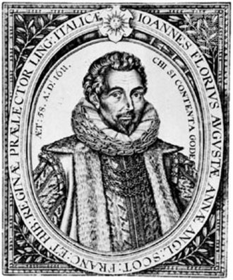 Santi Paladino - John Florio, 1611. Engraving by William Hole from the 2nd edition of Florio's dictionary. According to Paladino John produced the final versions of the plays originally created by his father.