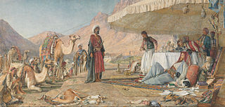 A Frank Encampment in the Desert of Mount Sinai. The Convent of St. Catherine in the Distance