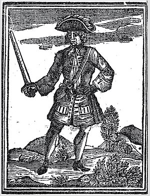 "John Martel (pirate) - Illustration of John James Martel from Johnson's ""A General History of the Pyrates"", 1724."