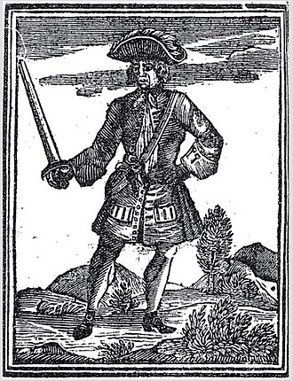"""John Martel (pirate) - Illustration of John James Martel from Johnson's """"A General History of the Pyrates"""", 1724."""