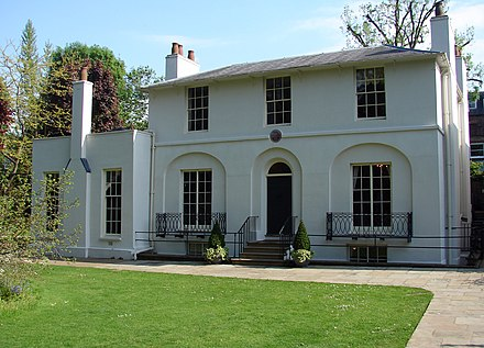 Keats House, where Keats wrote his Ode to a Nightingale. The village of Hampstead has historically been a literary centre in London. John Keats (4625082560).jpg