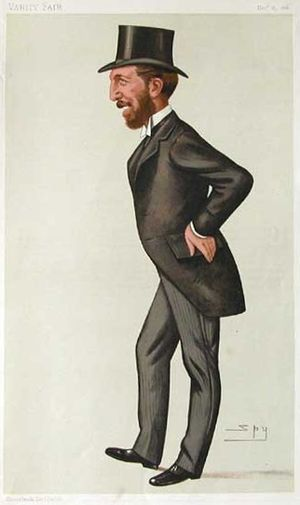 "John O'Connor Power - ""the brains of Obstruction"" Caricature by ""Spy"" (Leslie Ward) in Vanity Fair, 25 December 1886"