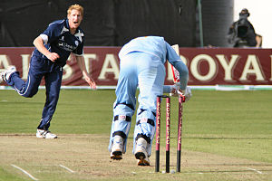 Scotland national cricket team - Scotland's John Blain bowls India's Yuvraj Singh at Glasgow's Titwood ground, 16 August 2007