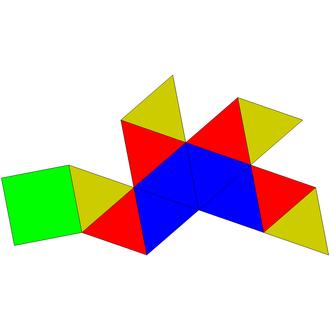 Gyroelongated square pyramid - Image: Johnson solid 10 net