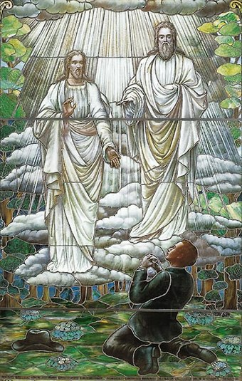 The Church of Jesus Christ of Latter-day Saints depiction of God the Father and the Son Jesus Joseph Smith first vision stained glass.jpg