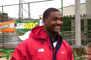 Olympic Gold Medal athelete, Justin Gatlin, at...
