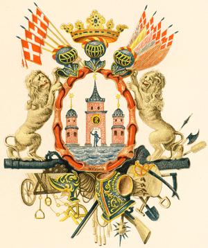 1661 in Denmark - Coat of arms of Copenhagen, granted on 24 June 1661. Illustration from 1894
