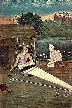 Kabir - An 1825 CE painting depicts Kabir weaving.