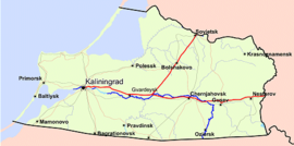 Map of Kaliningrad Oblast in the historical Northeastern Prussia