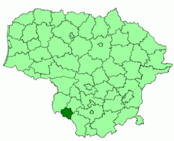Location of Kalvarija municipality within Lithuania