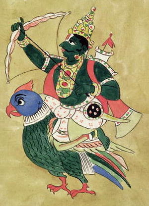 Kamadeva - Madan on his parrot