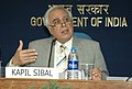 Kapil Sibal addressing the media on forth coming 'International Workshop on Agro-meteorological Risk Management Challenges and Opportunities and the 14th session of the Commission on Agriculture Meteorology of the World.jpg