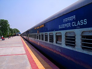 Karimnagar - A train halts at the railway station in Karimnagar.